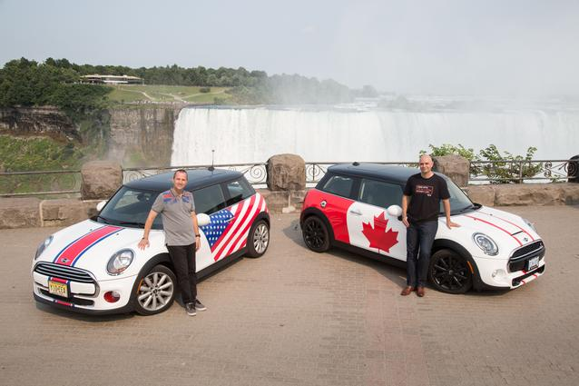 Adam Shaver, Director of MINI Canada, who welcomed the MTTS 2014 group to Canada, poses with David Duncan, VP MINI of the Americas, at the famed Niagara Falls.