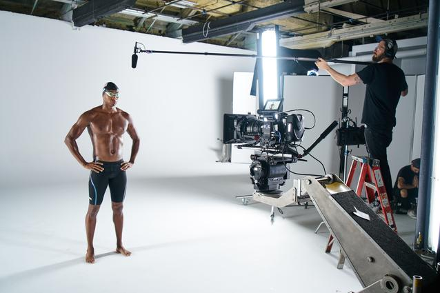 Cullen Jones behind the scenes at the MINI 2016 Olympics commercial shoot