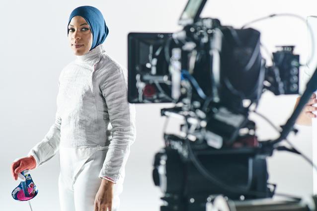 Ibtihaj Muhammadbehind the scenes at the MINI 2016 Olympics commercial shoot