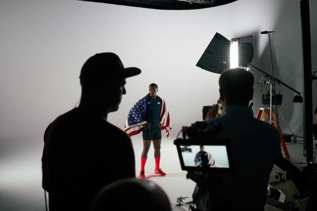 Carlin Isles behind the scenes at the MINI 2016 Olympics commercial shoot