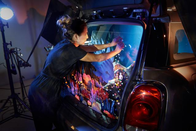 "Behind the scenes of Kirsten Lepore's aquatic adventure ""Underwater"" in the back of a MINI Countryman"
