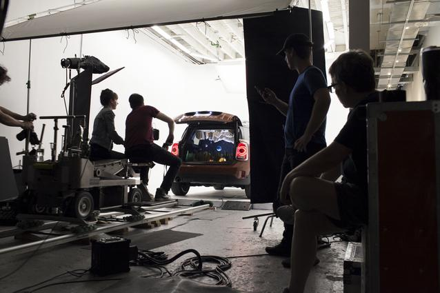 "Behind the scenes of Nix + Gerber's campsite dioramas ""Camping"" in the back of a MINI Countryman"