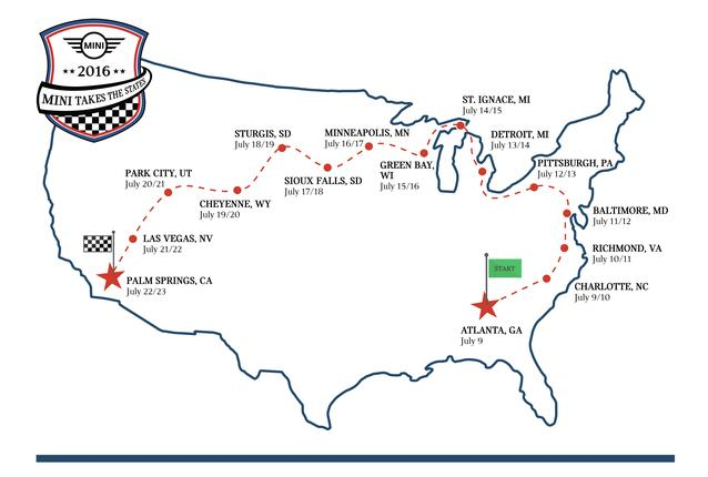 MINI USA ANNOUNCES OFFICIAL ROUTE FOR MINI TAKES THE STATES 2016