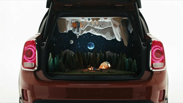 "Nix + Gerber's campsite dioramas ""Camping"" in the back of a MINI Countryman."