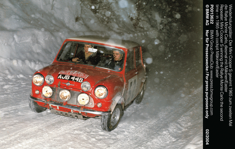 """Repeater: Mini Cooper S winning the Rallye Monte Carlo the second time – in 1965 with cockpit Mäkinen/Easter"" (01/2004)<br />"