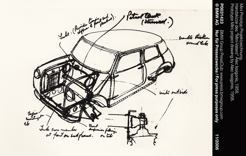 Prototype Mini project drawing by Alec Issigonis, 1958 (11/2006)<br />