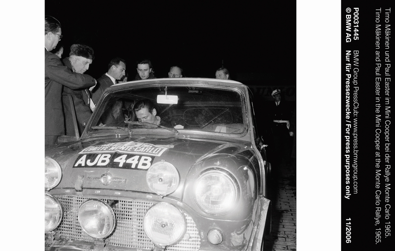 Timo Mäkinen and Paul Easter in the Mini Cooper at the Monte Carlo Rallye, 1965 (11/2006)<br />
