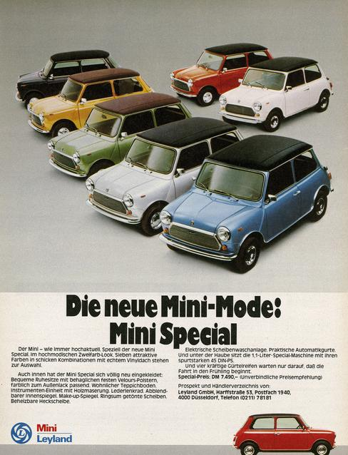 The new Mini-Fashion: Mini Special - Advertisement in 'Motorrad' 7/1977 by Leyland GmbH, Düsseldorf. (03/2009)