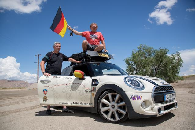 MINI enthusiasts Fritz Kreis and Thomas Fuerst set off from their home city in Heidelberg, Germany, over two months ago on Monday, June 16th, in their MINI Hardtop, driving east around the world just in time to join almost 1,000 other guests for the start of MTTS 2014. (08/2014)