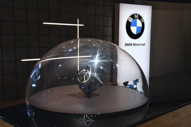 "BMW GROUP THE NEXT 100 YEARS. ""Iconic Impulses. The BMW Group Future Experience"" in London, Roundhouse. BMW Motorrad brand space, interactive sculpture of the BMW Motorrad VISION NEXT 100 (06/2016)"