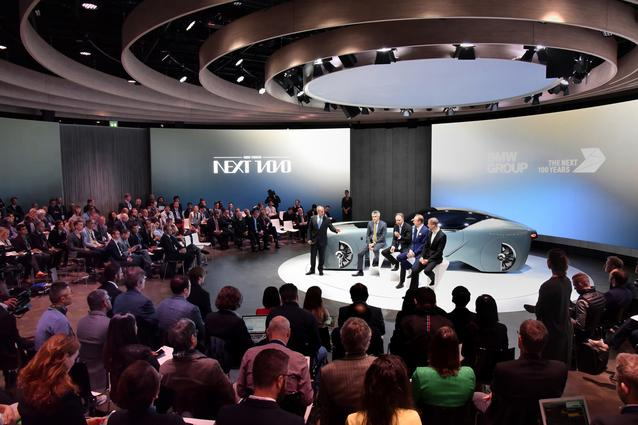 "BMW GROUP THE NEXT 100 YEARS. ""Iconic Impulses. The BMW Group Future Experience"". World Premiere of the MINI VISION NEXT 100 and the Rolls-Royce VISION NEXT 100. Press Conference 16 June 2016, London, Roundhouse. (l-r:) Graham Biggs, Corporate Communications Director UK; Peter Schwarzenbauer, Member of the Board of Management of BMW AG, MINI, Motorrad, Rolls-Royce, Aftersales; Ian Robertson, Member of the Board of Management of BMW AG, Sales and Marketing BMW, Sales Channels BMW Group. Giles Taylor, Design Director Rolls-Royce Motor Cars. Anders Warming, BMW Group, Head of Design Studio MINI. (06/2016)"