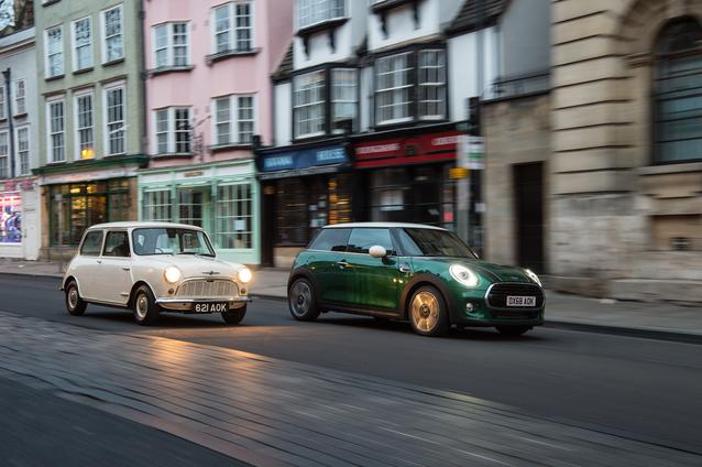 1959 Morris Mini-Minor and MINI Cooper 60 Years Edition 3 Door. (01/2019)<br />