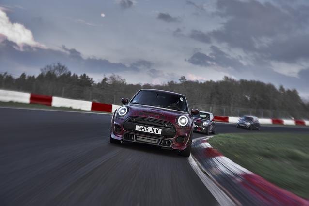 MINI Cooper S with John Cooper Works GP Kit (2006), MINI John Cooper Works GP (2012,), MINI John Cooper Works GP Prototype (06/19). MINI Cooper S mit John Cooper Works GP Kit (2006): Fuel consumption combined: 8,6 l/100 km; CO2-emissions combined: 207 g/km. MINI John Cooper Works GP (2012): Fuel consumption combined: 7,1 l/100 km; CO2-emissions combined: 165 g/km. MINI John Cooper Works GP Prototype: Not specified. Vehicle not on sale yet.