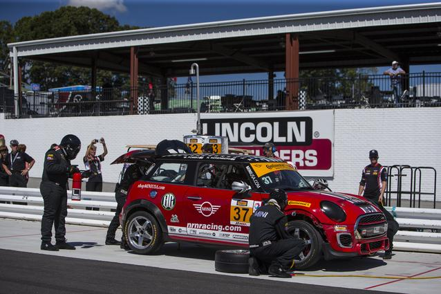 Technicians from MINI dealerships from around the Southeast perform a pit stop on the #37 MINI JCW at Road Atlanta.