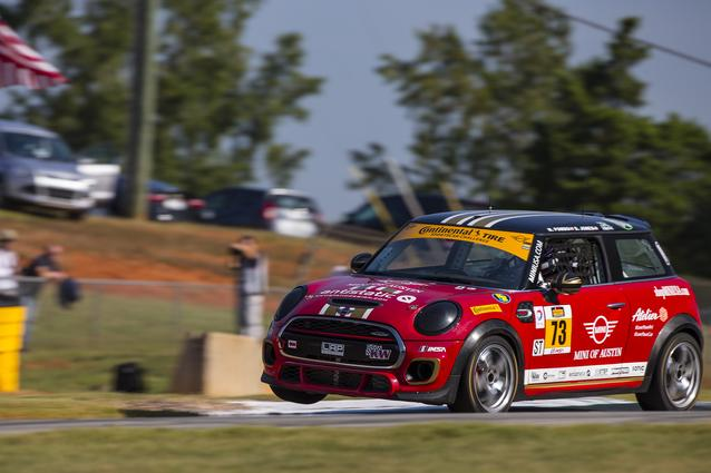 The #73 MINI JCW gets some air through the corner during practice at Road Atlanta. The #37 & #73 MINI JCWs both finished inside the top 5 that day.