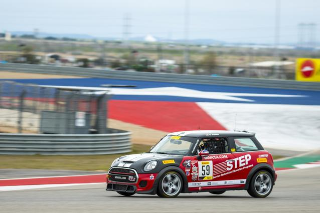 The #59 STEP MINI JCW at Circuit of the Americas.
