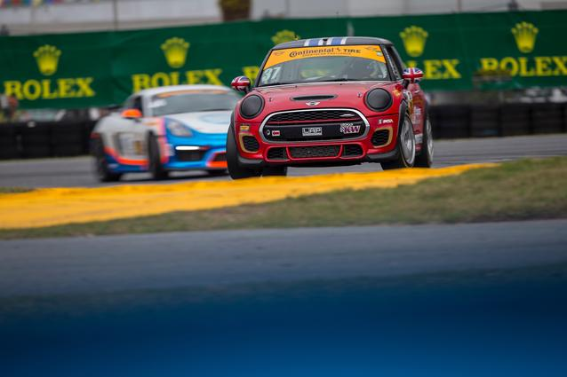 MINI JCW race cars practice at Daytona International Speedway. Photo Credit: Images courtesy of the MINI JCW Race Team/LAP Motorsports LLC via Halston Pitman.2017 MINI JCW Team wins Daytona