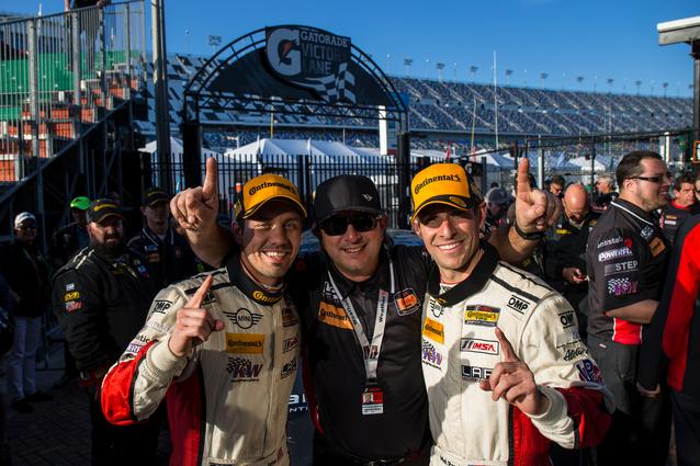 Left to Right: Derek Jones, Luis Perocarpi and Mat Pombo celebrate in victory lane. Photo Credit: Images courtesy of the MINI JCW Race Team/LAP Motorsports LLC via Halston Pitman.