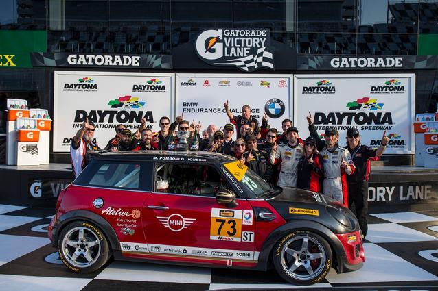 The MINI JCW Team celebrates in victory lane at Daytona International Speedway.Photo Credit: Images courtesy of the MINI JCW Race Team/LAP Motorsports LLC via Halston Pitman.