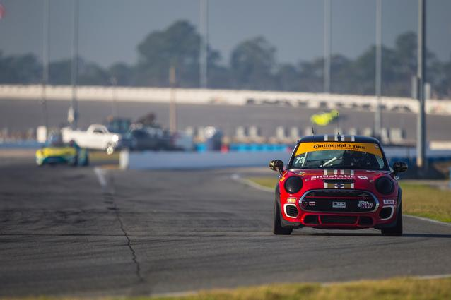 #73 MINI JCW enters pit road at Daytona International Speedway. Photo Credit: Images courtesy of the MINI JCW Race Team/LAP Motorsports LLC via Halston Pitman.