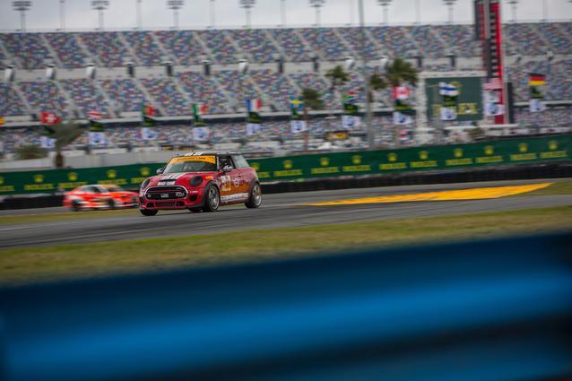 MINI JCW race cars practice at Daytona International Speedway.Photo Credit: Images courtesy of the MINI JCW Race Team/LAP Motorsports LLC via Halston Pitman.2017 MINI JCW Team wins Daytona