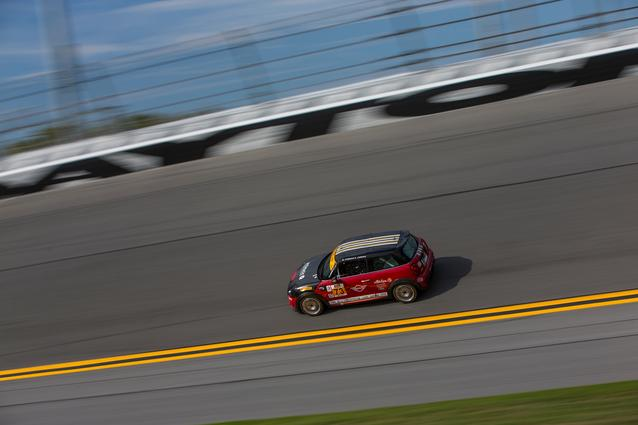 #73 MINI JCW takes the high banks of Daytona International Speedway ahead of first win in the CTSSC series.. Photo Credit: Images courtesy of the MINI JCW Race Team/LAP Motorsports LLC via Halston Pitman.