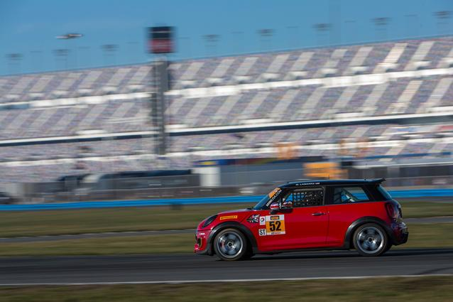#52 MINI JCW tests during the Roar Before the Rolex 24 at Daytona International Speedway.Photo Credit: Images courtesy of the MINI JCW Race Team/LAP Motorsports LLC via Halston Pitman.