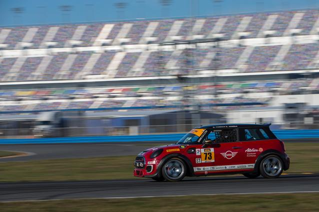 #73 MINI JCW leads a test session during the Roar Before the Rolex 24 at Daytona International Speedway earlier this month. Photo Credit: Images courtesy of the MINI JCW Race Team/LAP Motorsports LLC via Halston Pitman.